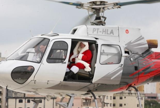Papai Noel chega de helicóptero em Panorama na sexta feira